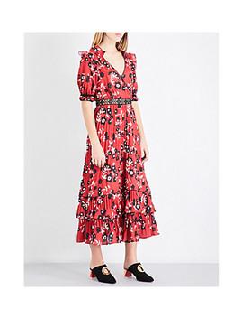 Floral Print Chiffon Shirt Dress by Self Portrait