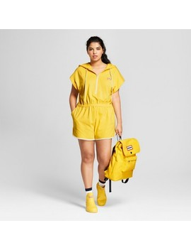 Hunter For Target Women's Plus Size Hooded Short Sleeve Romper   Yellow by Hunter For Target