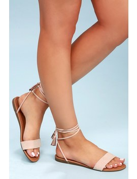Leyla Natural Suede Flat Lace Up Sandals by Lulus