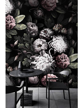 Dark Floral Wallpaper   Dark Flowers Wallpaper   Vintage Floral Wallpaper by Etsy