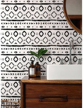 Monochrome Wallpaper/ Black And White Removable Wallpaper/ Self Adhesive Wallpaper / Aztec Pattern Wall Covering   120 by Etsy
