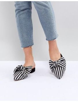 Asos Design Lightening Pointed Bow Ballet Flats by Asos Design