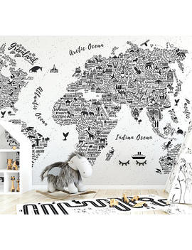 World Map Typography Wallpaper Mural by Etsy