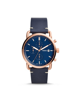 Montre The Commuter Chronographe En Cuir Bleu Marine by Fossil