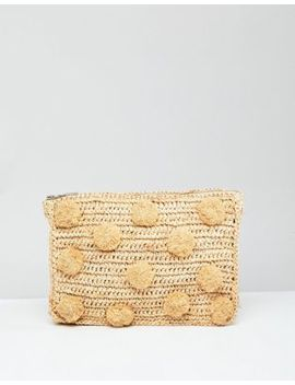 Whistles Straw Pom Pom Medium Clutch Bag by Whistles