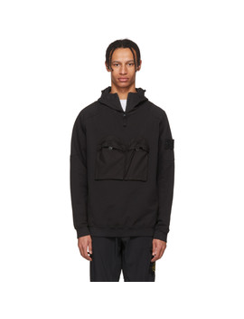 Black Front Pocket Hoodie by Stone Island
