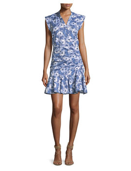 Fountain Asymmetric Button Front Ruched Dress by Veronica Beard