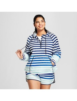 Hunter For Target Women's Plus Size Striped Half Zip Hooded Jacket   Blue by Hunter For Target