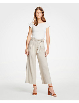 Petite Pleated Wide Leg Crop Pants by Ann Taylor