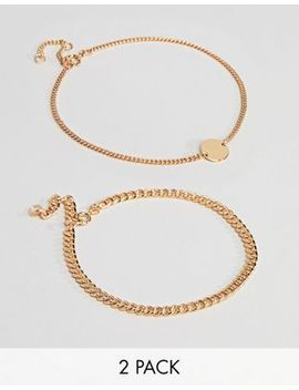 Weekday 2 Pack Chain Anklet by Weekday
