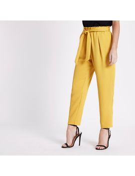 Petite Yellow Tapered Leg Trousers by River Island