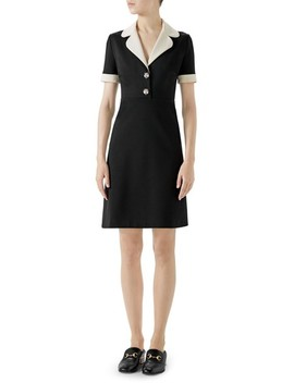 Tiger Button Contrast Trim Jersey Dress by Gucci