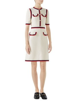Ribbon Trim Wool & Silk Crepe A Line Dress by Gucci