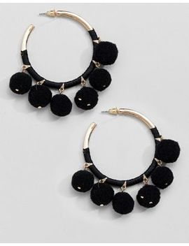 River Island Hoop Pom Pom Earrings by River Island