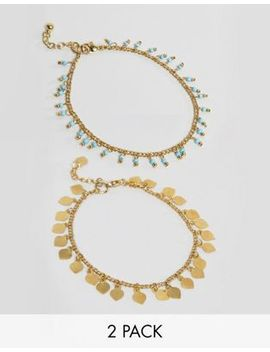Asos Design Pack Of 2 Petal Disc And Bead Anklets by Asos Design