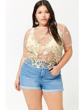 Plus Size Sheer Floral Embroidered Top by F21 Contemporary