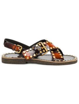Burned Effect Studded Sandals by Prada