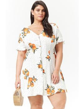 Plus Size Orange Button Front Dress by F21 Contemporary