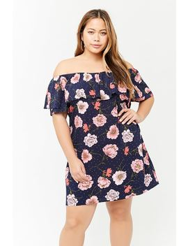 Plus Size Floral Flounce Dress by F21 Contemporary