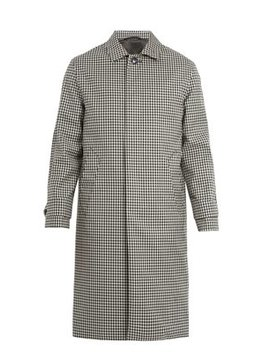 Serge Checked Wool Overcoat by Officine Générale