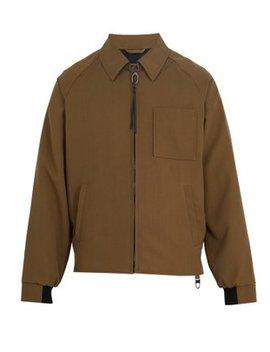 Point Collar Zip Through Wool Jacket by Lanvin