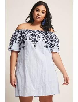 Plus Size Stripe Floral Dress by F21 Contemporary