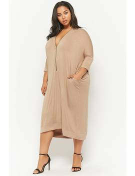 Plus Size Zippered V Neck Midi Dress by F21 Contemporary