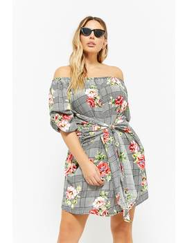 Plus Size Glen Plaid & Floral Print Off The Shoulder Dress by F21 Contemporary