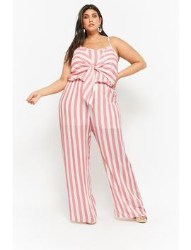 Plus Size Striped Tie Front Jumpsuit by F21 Contemporary