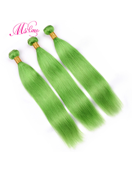 Ms Love Light Green Hair Bundles With Lace Frontal Closure 100 Percents Remy Human Hair Bundles With Frontal Brazilian Hair Straight  by Ms Love