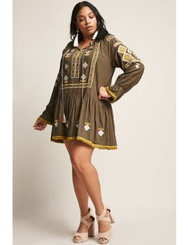 Plus Size Embroidered Geo Dress by F21 Contemporary