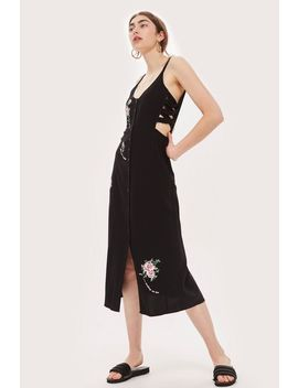 Embroidered Lattice Side Slip Dress by Topshop
