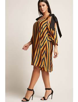 Plus Size Stripe Open Shoulder Mini Dress by F21 Contemporary