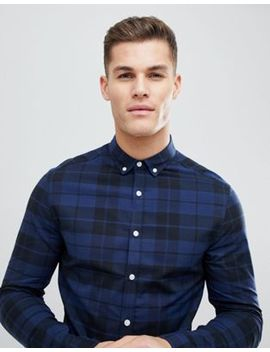 Asos Design Skinny Poplin Check Shirt In Blue by Asos Design