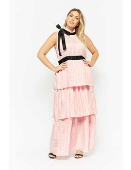 Plus Size Gingham Tie Neck Maxi Dress by F21 Contemporary