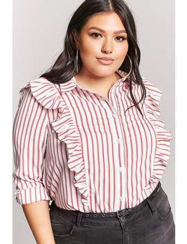 Plus Size Ruffle Stripe Shirt by F21 Contemporary