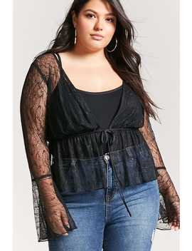 Plus Size Sheer Lace Trumpet Sleeve Cardigan by F21 Contemporary
