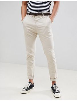 Stradivarius Slim Chino With Belt In Beige by Stradivarius