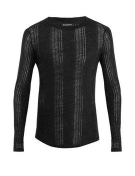 distressed-linen-sweater by balmain