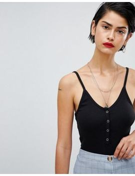 Missguided Cami Strap Popper Detail Body by Missguided