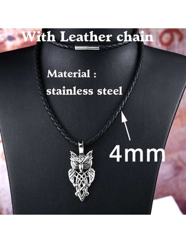 Beier 316 L Stainless Steel Nordic Vikings Runes Amulet Pendant Necklace Owl Runes Pendant Necklace Nordic Talisman Chain Bp8 293 by Beier