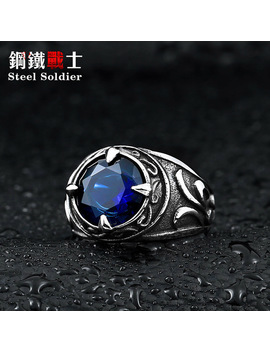Steel Soldier New Arrival Blue Stone Fashion Stainless Steel Jewelry Exquisite Titanium Steel Men Ring by Steel Soldier