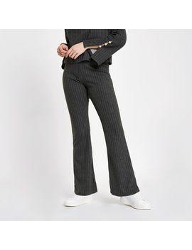 Grey Pinstripe Knit Pants by River Island