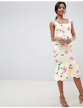 Asos Design Floral Scallop Pephem Midi Dress by Asos Design