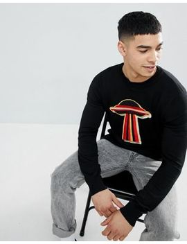 Boohoo Man Sweater With Spaceship Print In Black by Boohoo Man