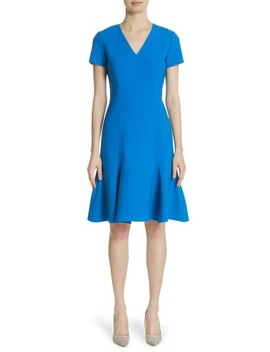 Flutter Hem Wool Blend Sheath Dress by Carolina Herrera