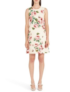 Rose Print Wool & Silk Shift Dress by Dolce&Gabbana