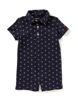 Childrenswear Baby Boys 3 12 Months Anchor Printed Mesh Polo Shortall by Ralph Lauren