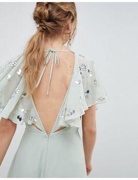 Asos Design   Robe Mi Longue Croisée Ornée à Manches évasées by Asos Design