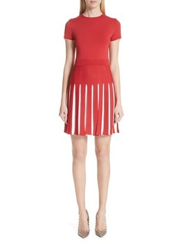 Bicolor Pleated Minidress by Valentino